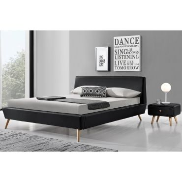lit norway cadre de lit scandinave noir avec pieds en bois 140x190cm vente de lit adulte. Black Bedroom Furniture Sets. Home Design Ideas