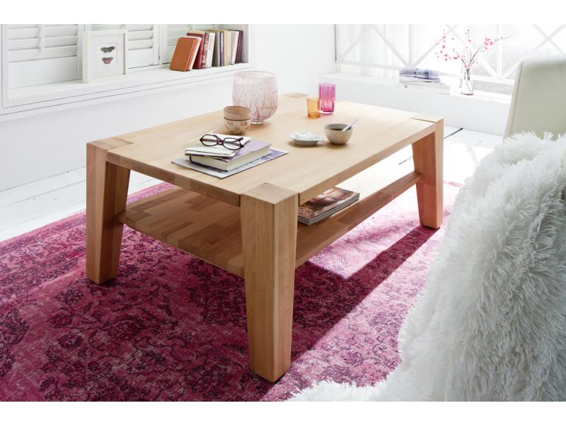 Table basse en bois de hêtre huilé avec roulettes - l110 x h40 x p70 cm -pegane-