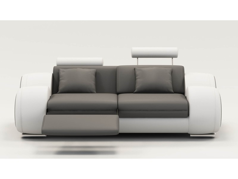 Canapé 2 places design relax oslo en cuir gris et blanc-