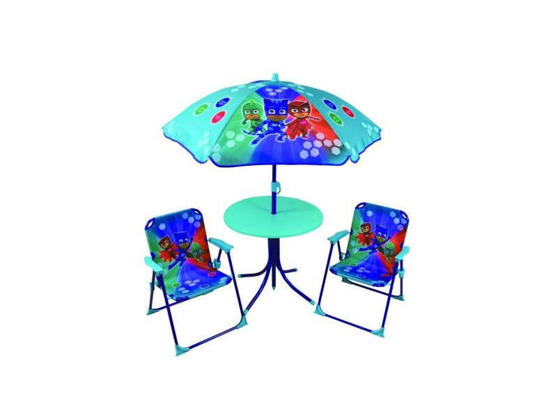 Pyjamasques ensemble de jardin ( table, 2 chaises, 1 parasol) pour enfant CIJ712851