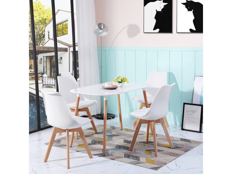 4 Chaises Design Contemporain Nordique Scandinave Blanc Chaises De