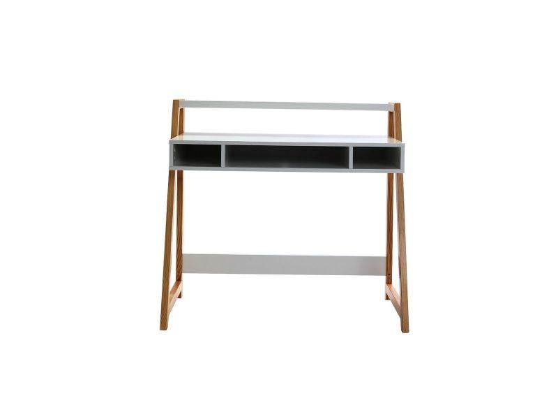 Bureau design laqué blanc mat et bois stoka