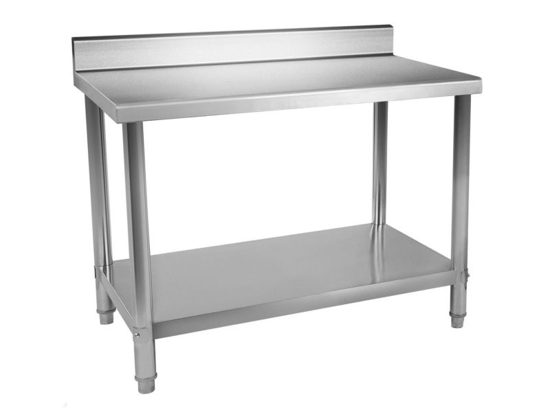 Table de travail professionnelle acier inox pieds ajustable avec rebord 150 x 60 cm helloshop26 3614086