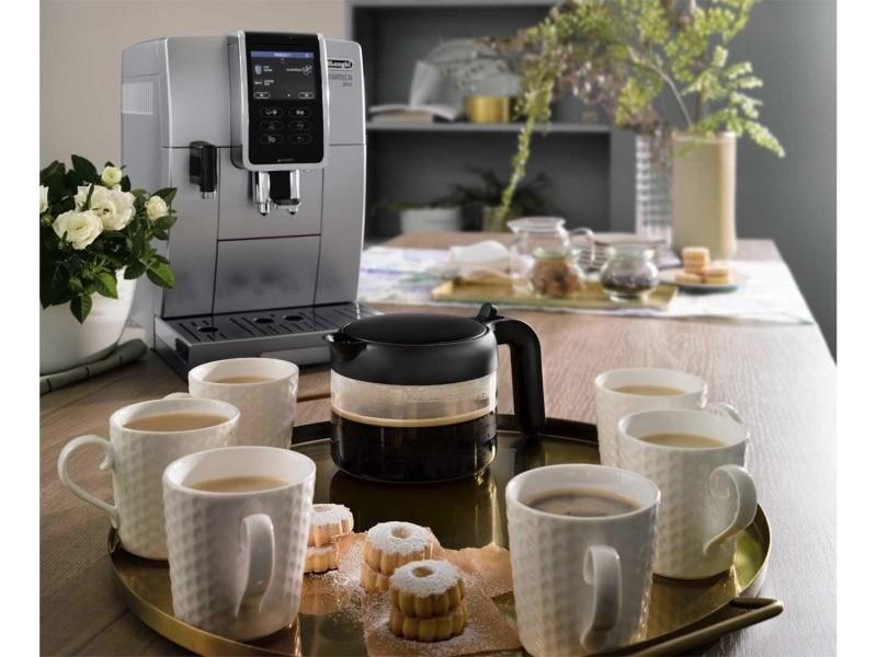 Machine à expresso avec écran et broyeur pour café en grains et moulu 1450w gris noir