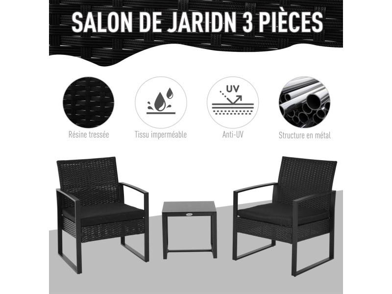 Salon de jardin 2 places 3 pièces 2 chaises avec coussins + ...