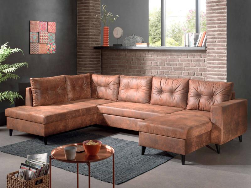 Nordic - canapé panoramique en u - 7 places - convertible - industriel vintage - angle gauche couleur - marron