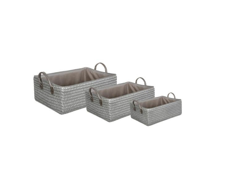 3 paniers de salle de bain osier gris vente de. Black Bedroom Furniture Sets. Home Design Ideas