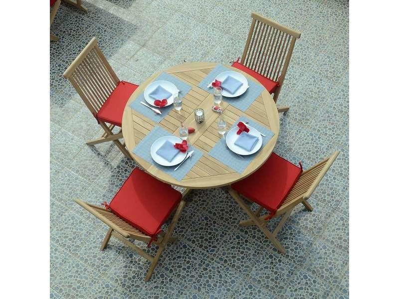 Table de jardin en teck pliable ø 120 cm - domingue Teck ...