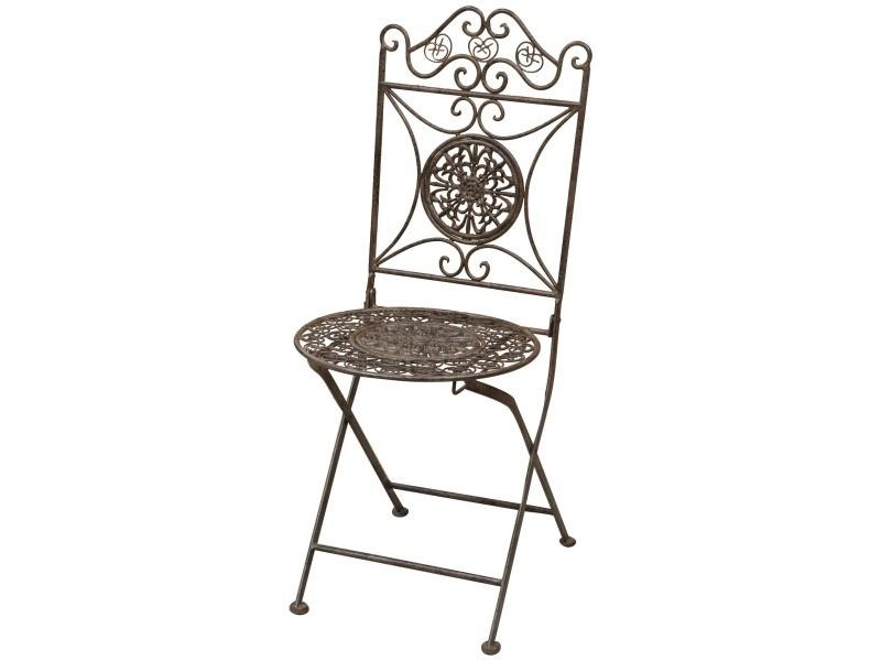 Chaise pliant de salle à manger de jardin d'extérieur en fer forgé complet finition rouille antique diam.39x96 cm