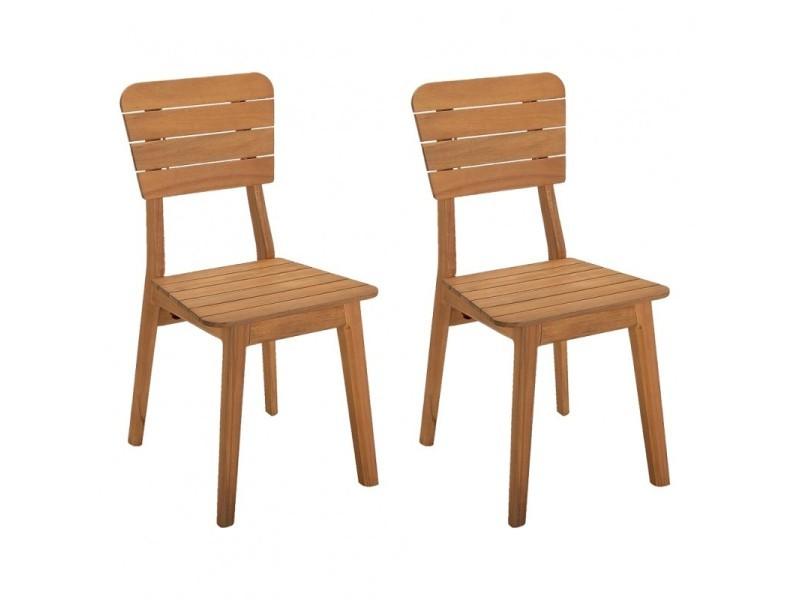 Lot de 2 chaises de jardin en bois d'acacia massif - maisy 3483
