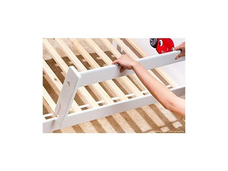 lit enfant moto 70 cm x 140 cm avec barriere de securite. Black Bedroom Furniture Sets. Home Design Ideas