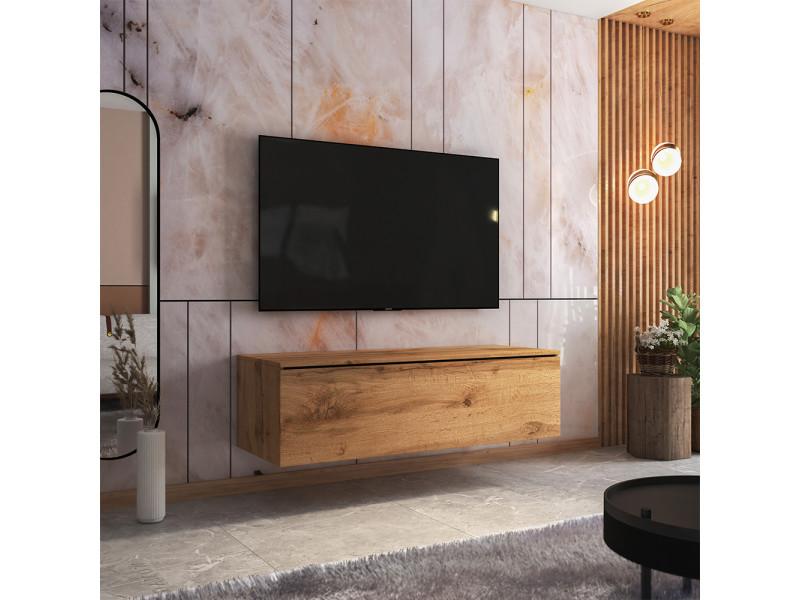 Meuble tv - skylara - 140 cm - chêne wotan