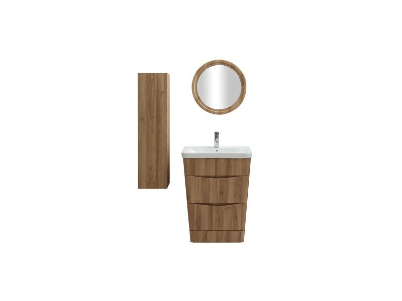 Meuble et colonne de salle de bains bois avec vasque, miroir et ...