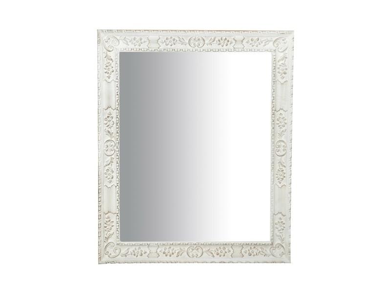 Miroir, long miroir mural rectangulaire, à accrocher au mur, horizontal et vertical, shabby chic, salle de bain, chambre, cadre finition blanc antique, grand, long, l87xp5.5xh105 cm. Style shabby chic.