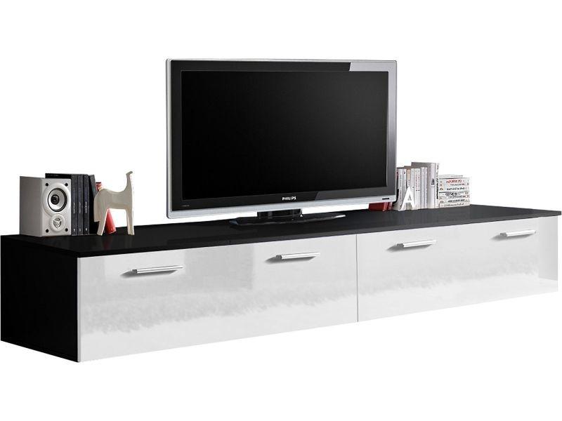 meuble tv 200 cm avec 4 portes abattantes coloris blanc et noir p