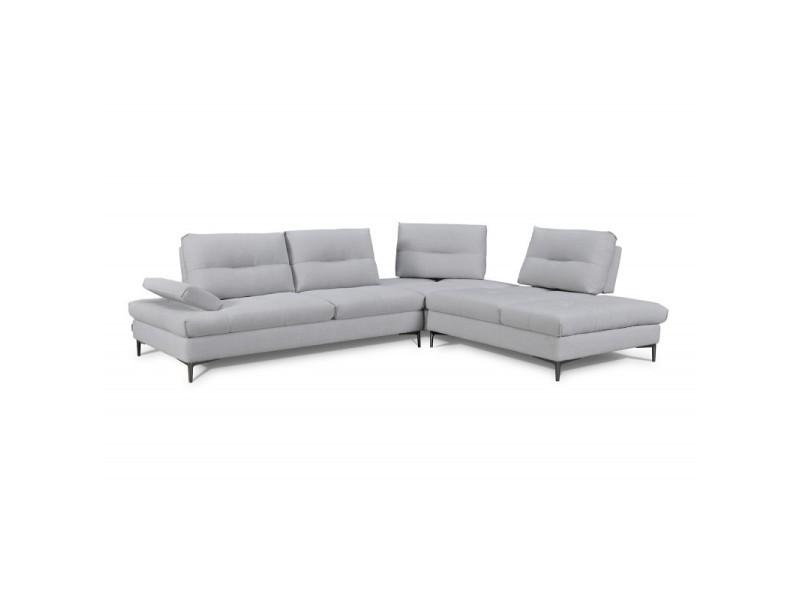 Canapé d'angle droit tissu gris clair - saturne