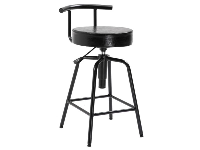 Tabouret de bar 43l x 38l x 74-82h cm hauteur d'assise réglable pivotant 360 ° similicuir noir