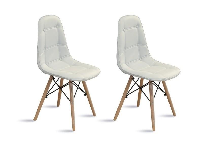 perla set de 2 chaises capitonnes style scandinave simili cuir coloris diffrents vente de bhd conforama - Chaise Scandinave Cuir