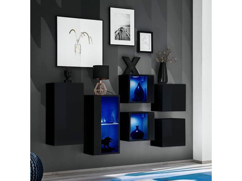 Ensemble meuble mural switch sb iv - l 150 x p 30 x h 80 cm - noir