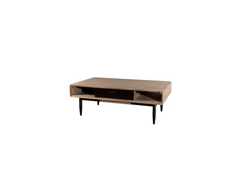 Table basse 2 tiroirs en acacia naturel et métal - danube