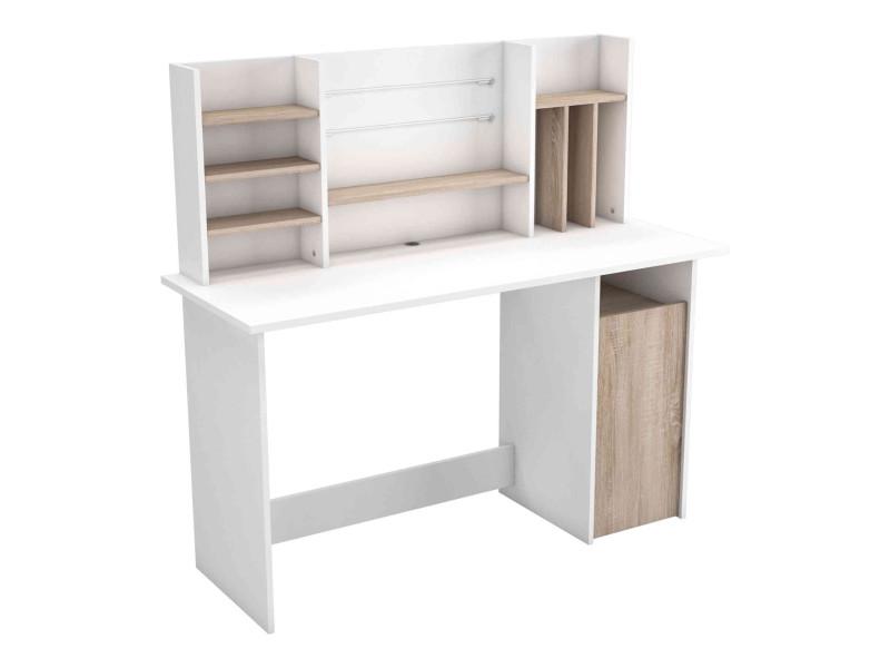 bureau avec caisson en bois blanc et imitation chêne