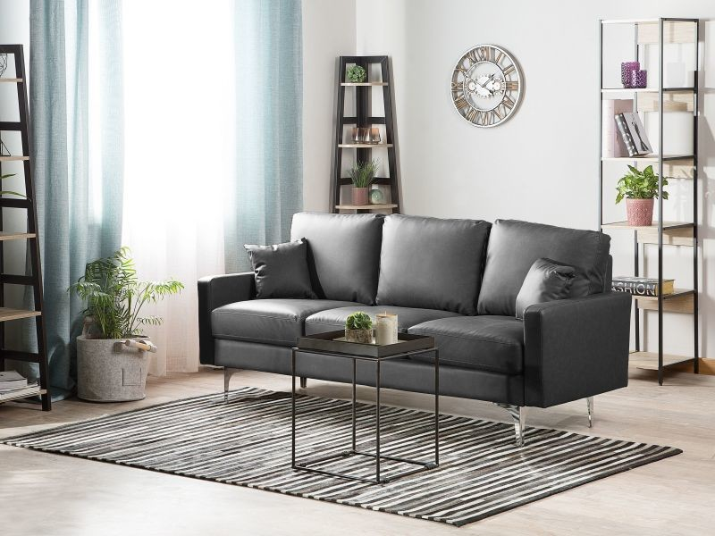 Canapé en simili-cuir gris foncé gavle 130843