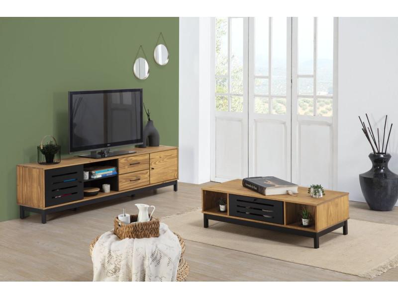 Bobochic table basse austin bois clair et noir
