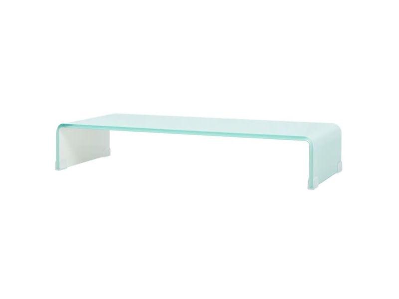 Meuble télé buffet tv télévision design pratique support pour moniteur 70 cm verre blanc helloshop26 2502049