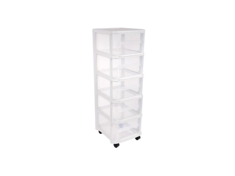 Tour de rangement city avec roulettes - 5 tiroirs - 32 x 37 x 97 cm - blanc transparent EDA10267BLCER