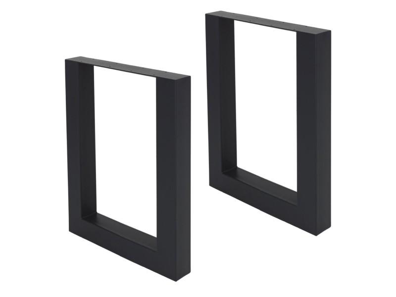 Ml-design jeu de 2 pieds de table, noir, 60x72,5 cm, en acier thermolaqué 490001066