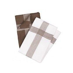 2 serviettes torchons nid d'abeille 50 x 70 cm marron et blanc