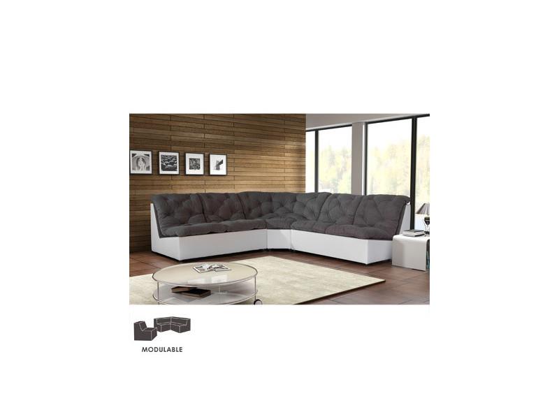 Canapé modulable 249cm en pu et microfibre gris clair