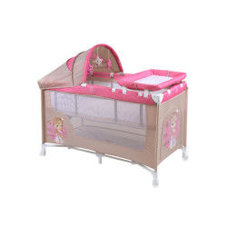 Lit parapluie bébé / lit pliant à 2 niveaux nanny 2+ lorelli rose