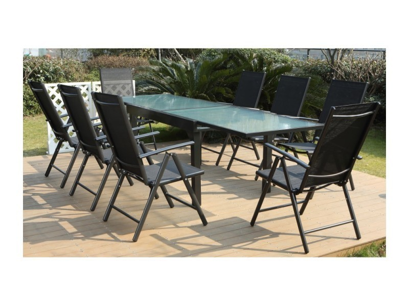 Magnifique salon de jardin tejo 8 salon de jardin en aluminium et textil ne brescia 8 chairs - Salon de jardin textilene ...