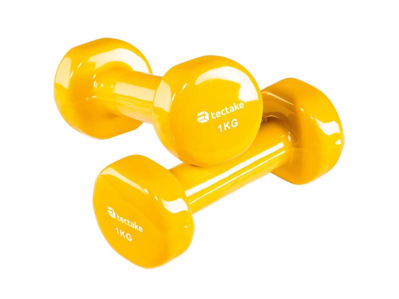 Tectake 2 haltères de fitness, de musculation en vinyle - 2 x 1,0 kg 402357