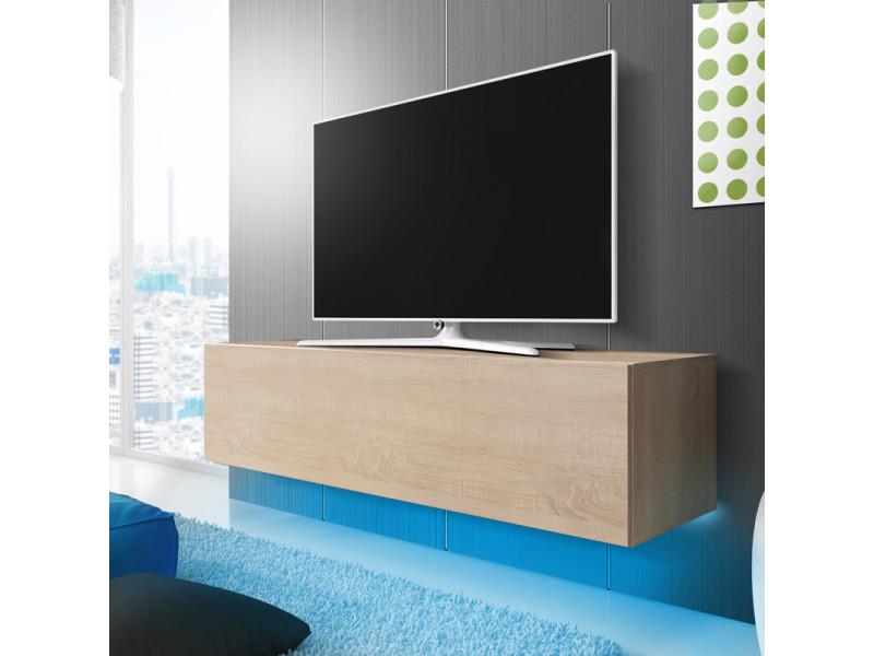 Meuble tv - lana - chêne sonoma - 160 cm - avec led bleue