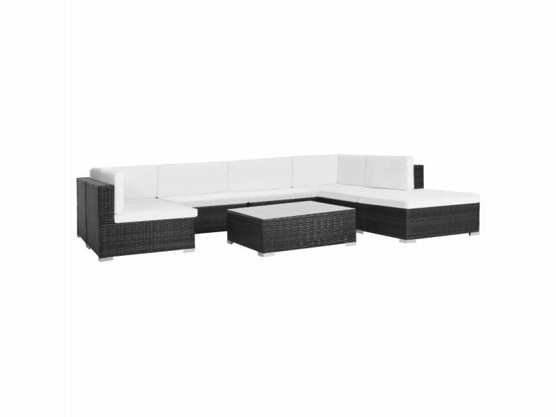Icaverne - ensembles de meubles d'extérieur gamme jeu de canapé de jardin 23 pcs noir résine tressée