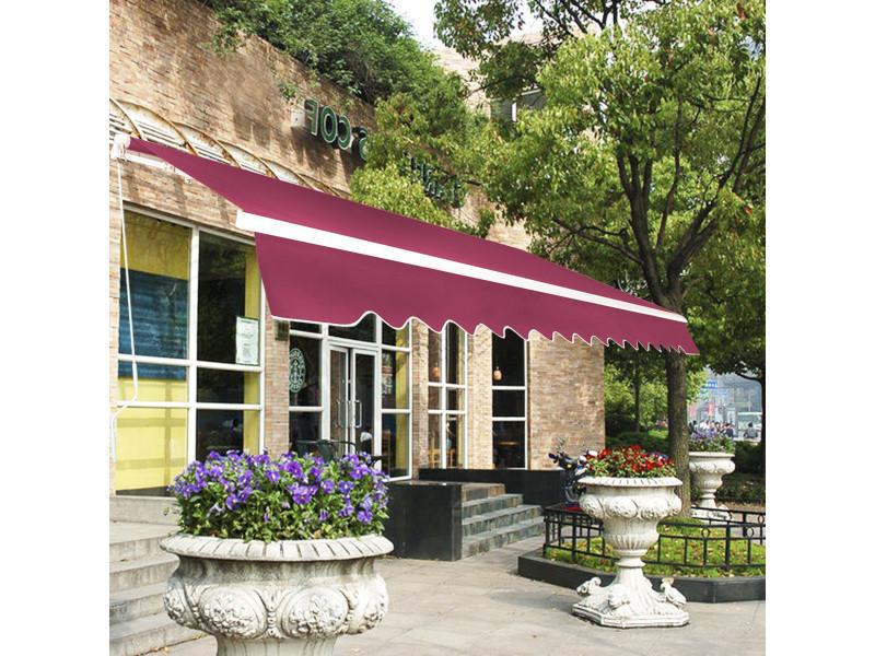 Giantex auvent de terrasse rétractable manuel de 2,5 x 2m, toile de protection solaire avec tissu résistant aux uv et à l'eau, cadre manivelle, pour terrasse extérieure de balcon (vin)