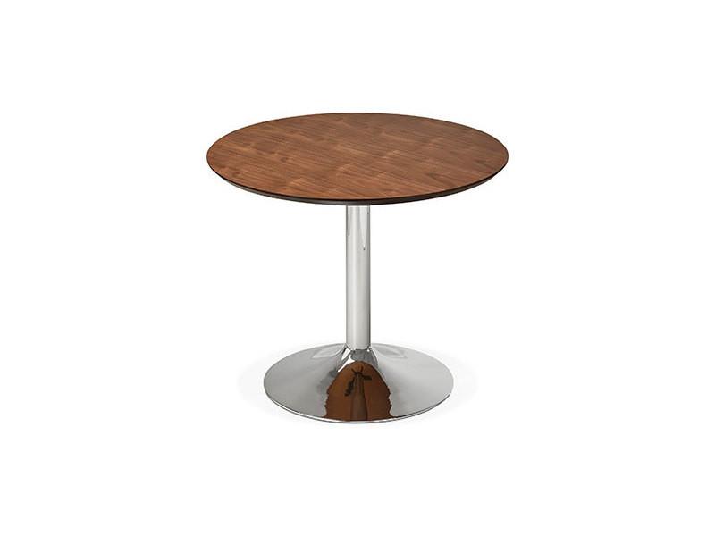 Table à manger ronde 90 cm en bois foncé et métal - franklin