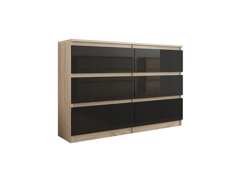 Munich s2 | commode contemporaine chambre salon bureau | 140x77x30 | dressing 6 tiroirs | meuble de rangement scandinave | sonoma/noir laqué