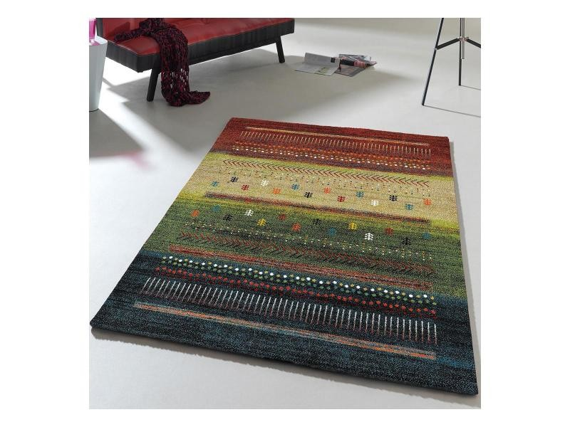 Tapis inspi gabbeh moderne et design ethno tribal bleu, rouge ...