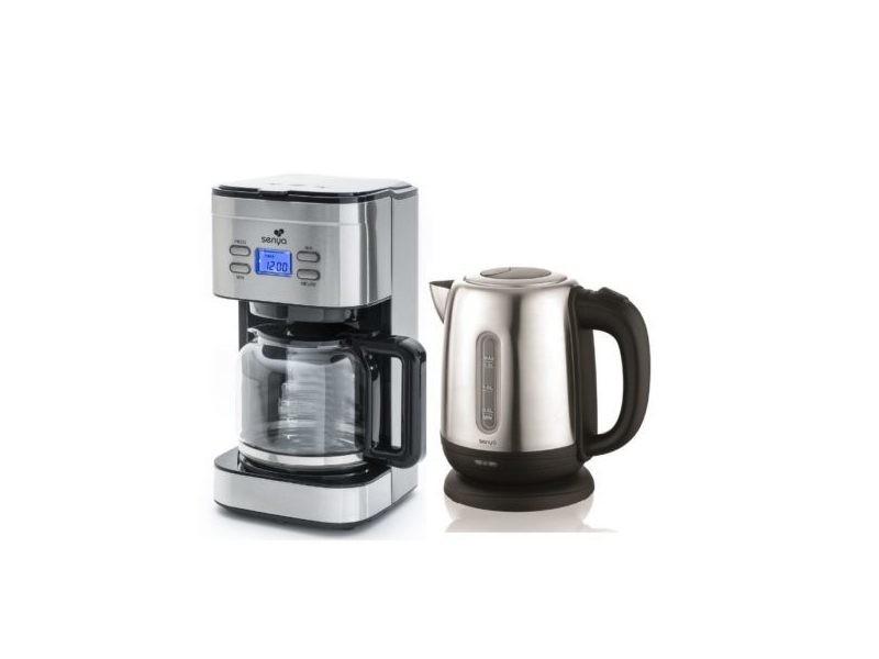 Senya set petit déjeuner cafetière programmable 1,5l (sybf-cm019) + bouilloire électrique inox 1,2l (sybf-k025n)