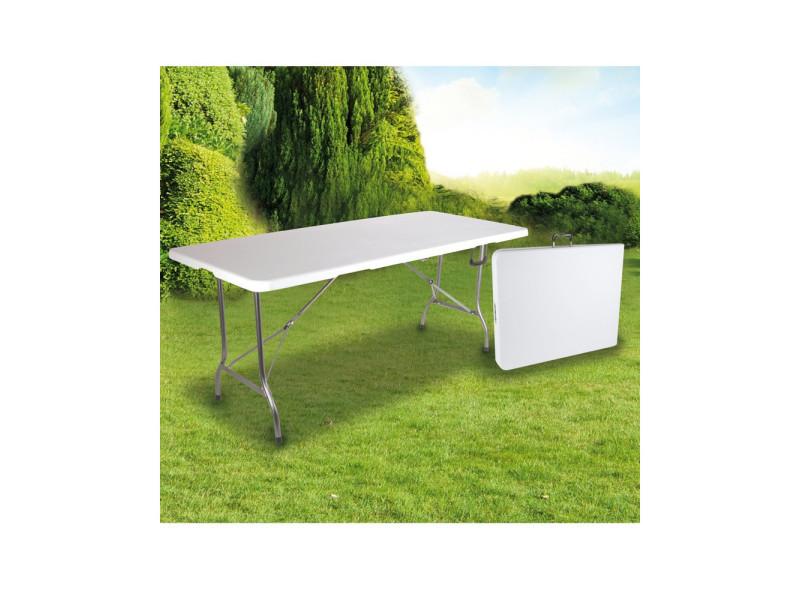 Grande table de jardin pliante 8 pers blanc 180 cm - Vente ...
