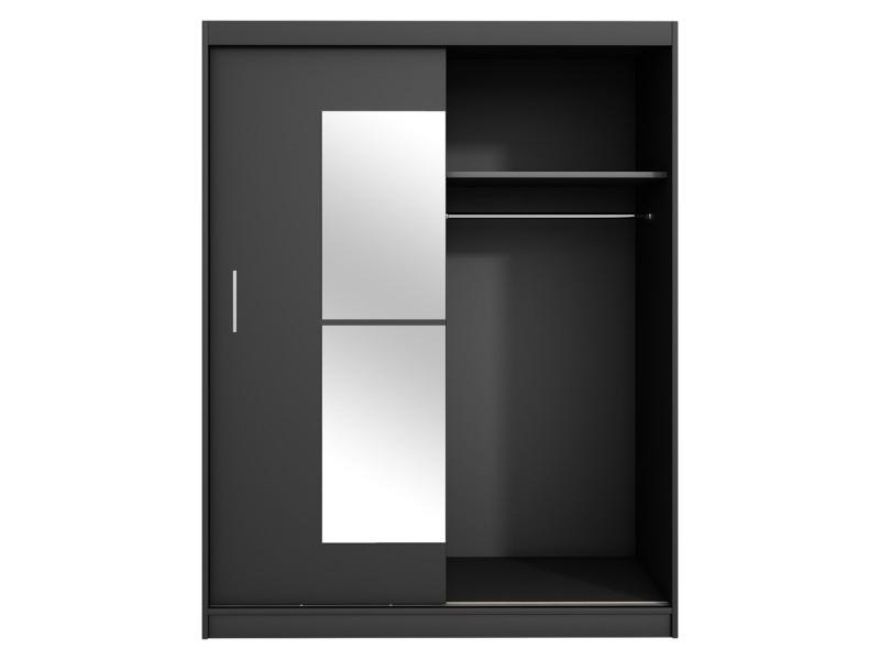 Armoire Avec Miroir Vaniva 150 Cm Noir Portes Coulissantes Vente De Dressing Conforama