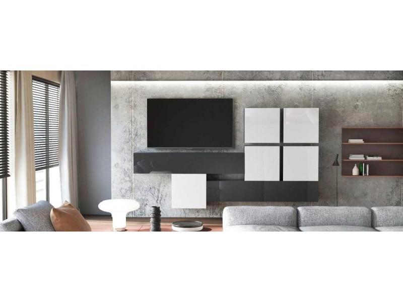 Ensemble de 7 meubles suspendus noir mat / blanc et noir laqué