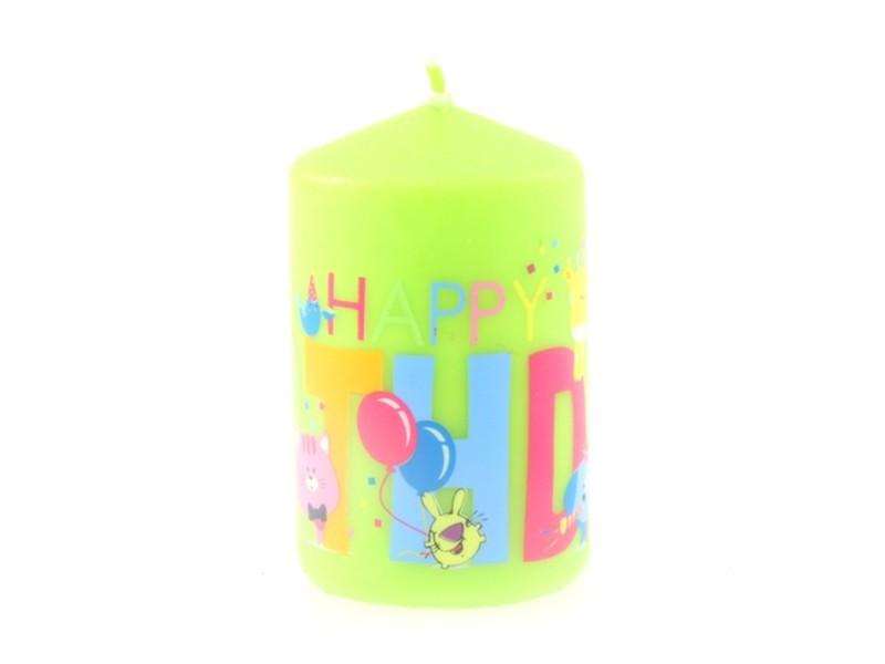 Bougie anniversaire ronde - vert