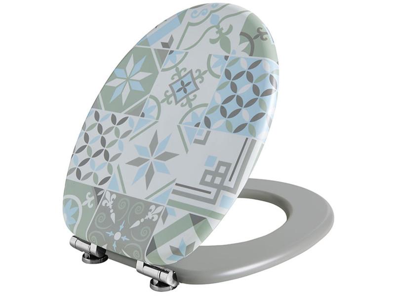 Abattant wc trendy line soft close, en bois compressé motif carreaux ciment -pegane-