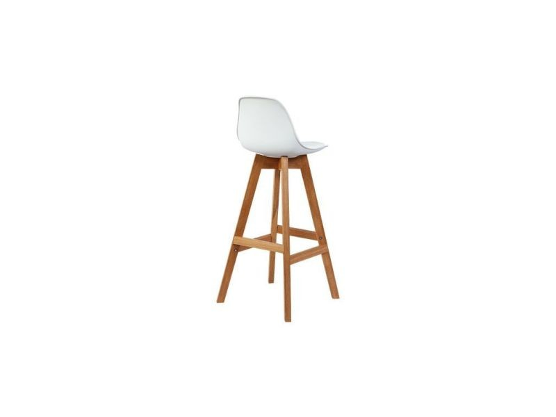 Tabourets De Bar Scandinaves Blanc Et Bois 65 Cm Lot De 2 Mini