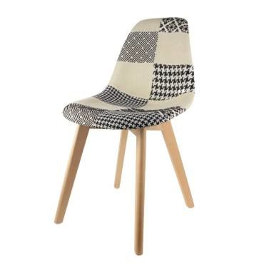 Chaise scandinave patchwork noir et blanc vente de the for Chaise sejour noir