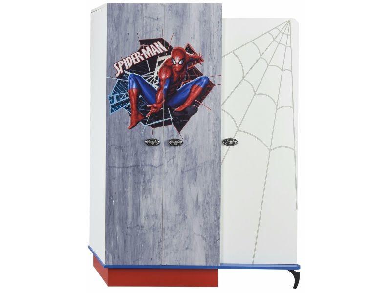 Armoire Enfant à 3 Portes Design Spiderman Marvel Coloris Blanc, Bleu Et  Rouge P 17245 Co